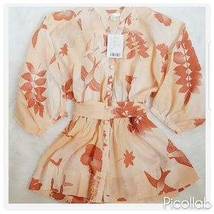 Urban Outfitters Pale Orange Birds Blouse
